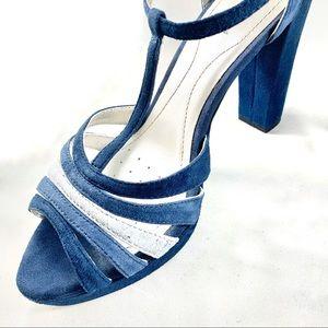 Geox Comfy Blue Suede Heels